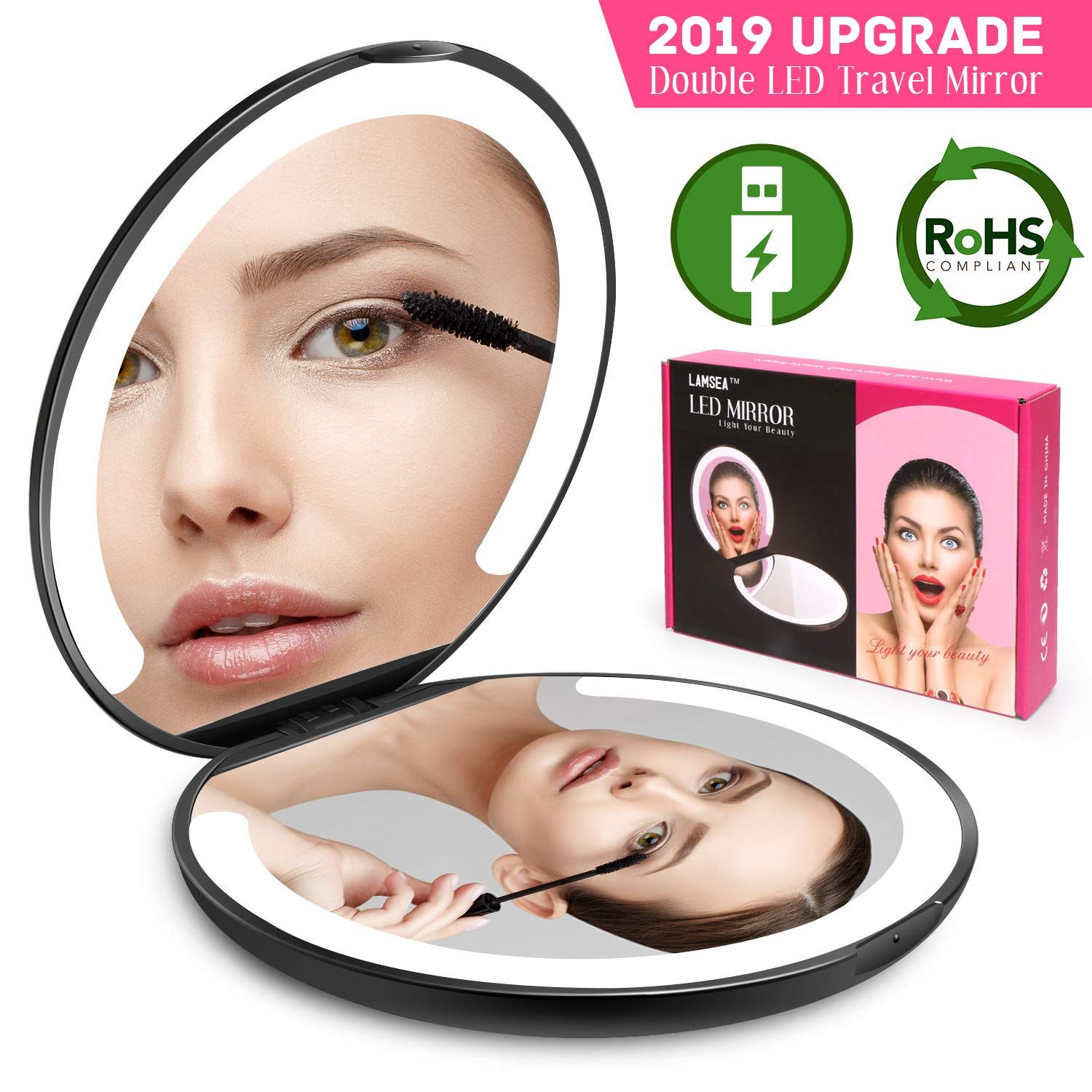 LED Lighted Travel Makeup Mirror Foldable, Dual Sided