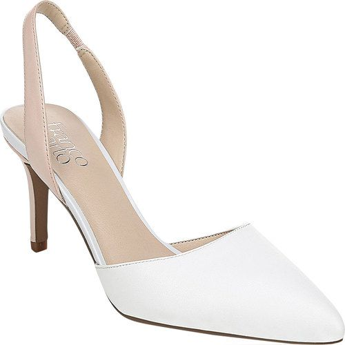 1ee92f7d2568e Women s Franco Sarto Tokyo Kitten Heel Slingback - White Blush Kidskin  Leather Heels