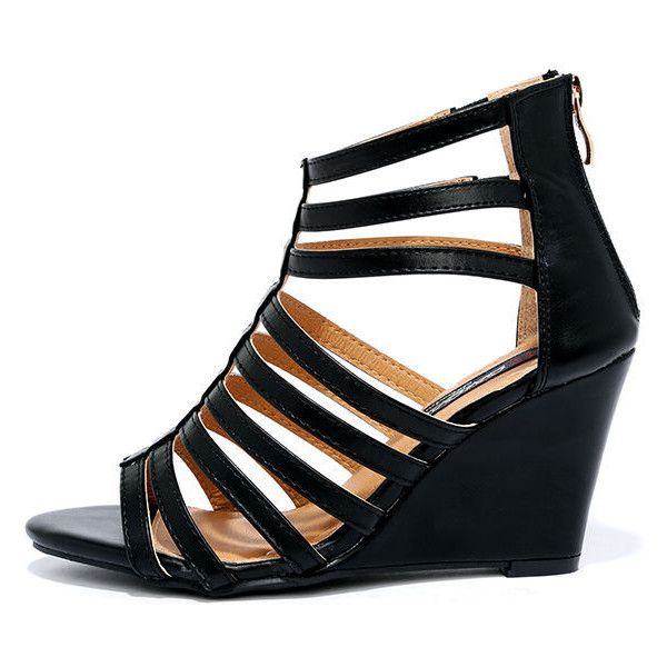 68293871906 Good Measure Black Caged Wedges ( 30) ❤ liked on Polyvore featuring shoes
