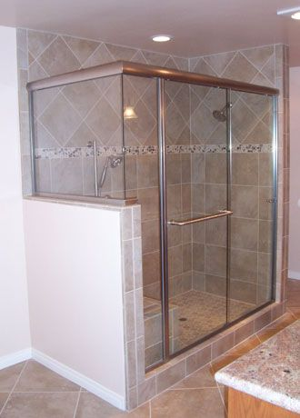 tub slider with 90 degree return panel | Glass Gallery - Textured Shelves Table : door return - pezcame.com