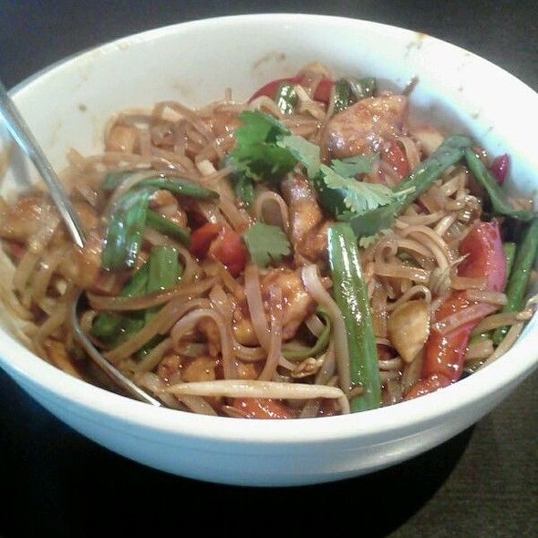 Fire it up with Mama Fu's #Thai #Basil #Noodle bowl! Looks like Wade's not afraid of a little #spice! ;)    #Lunch in #SunsetValley - #Austin, #Texas