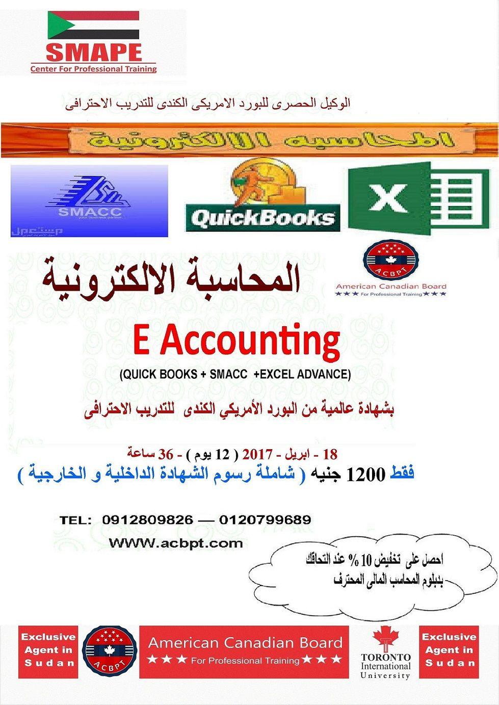 المحاسبة الالكترونية بشهادة عالمية من البورد الأمريكي الكندى للتدريب الاحترافى Accounting Excel Books
