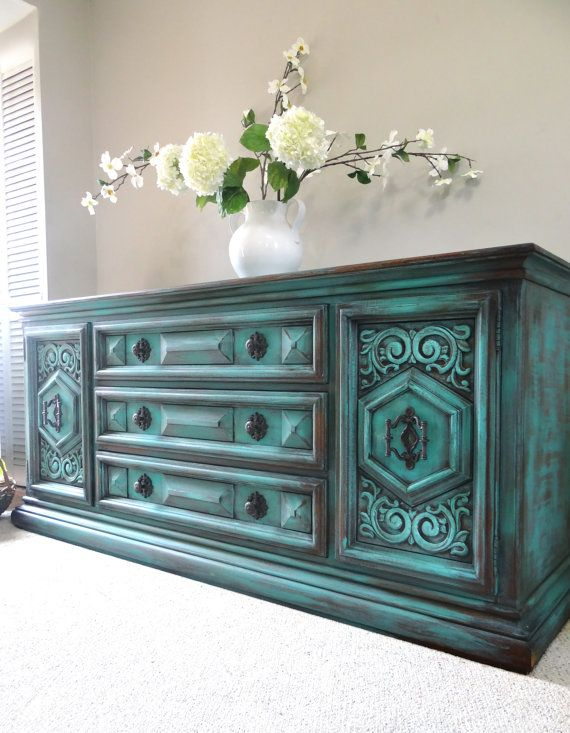 Vintage Hand Painted French Country Cottage Chic Shabby Distressed  Weathered Turquoise / Teal Blue Dresser / Console Cabinet - Vintage Hand Painted French Country Cottage Chic Shabby Distressed