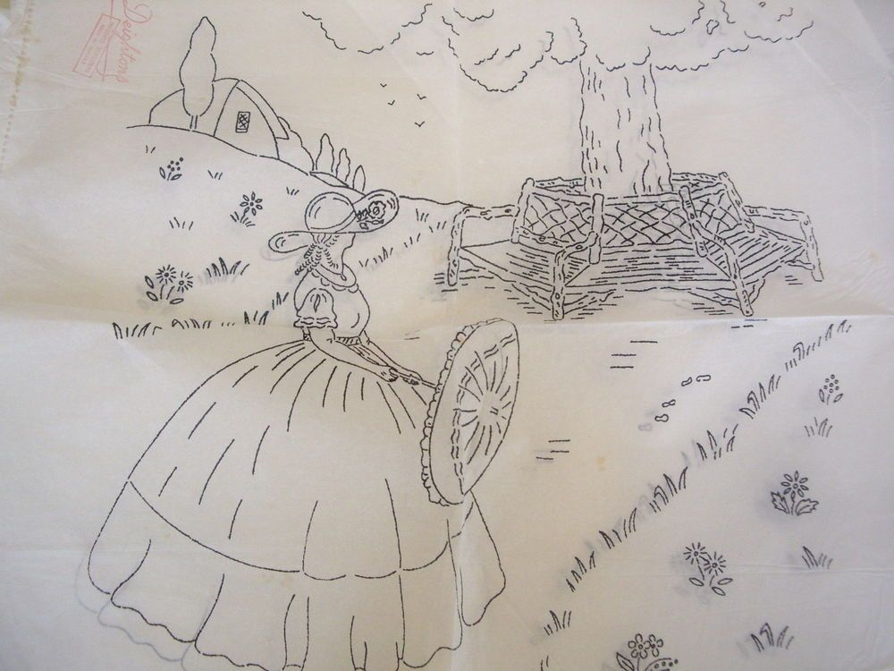 Vintage Embroidery Transfers Crinoline lady (5) in Crafts ...
