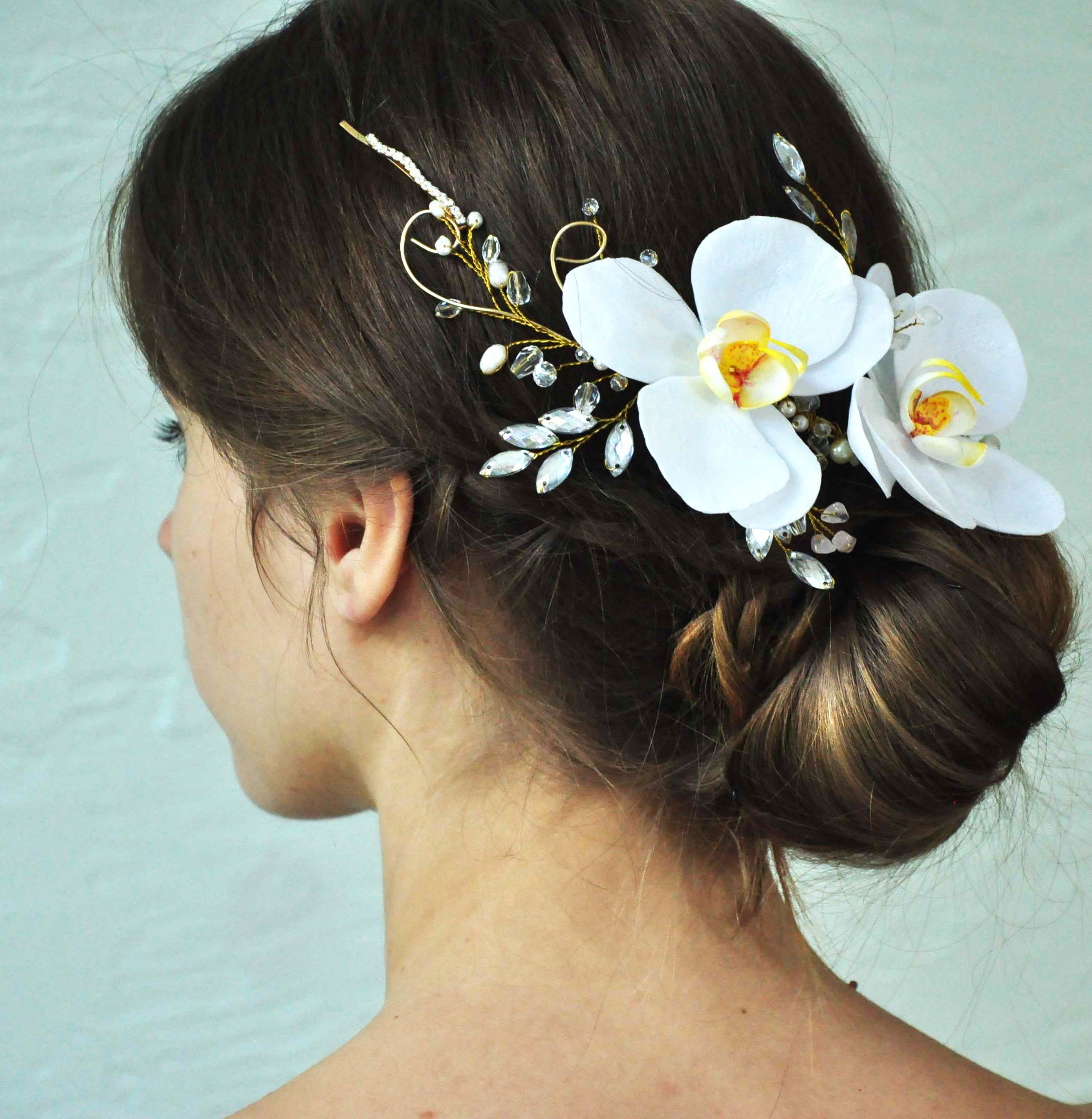 Orchid Flower Hair Piece Bridal Flower Hair Vine Wedding Head Etsy Flower Hair Pieces Orchid Hair Piece Floral Hair Pieces