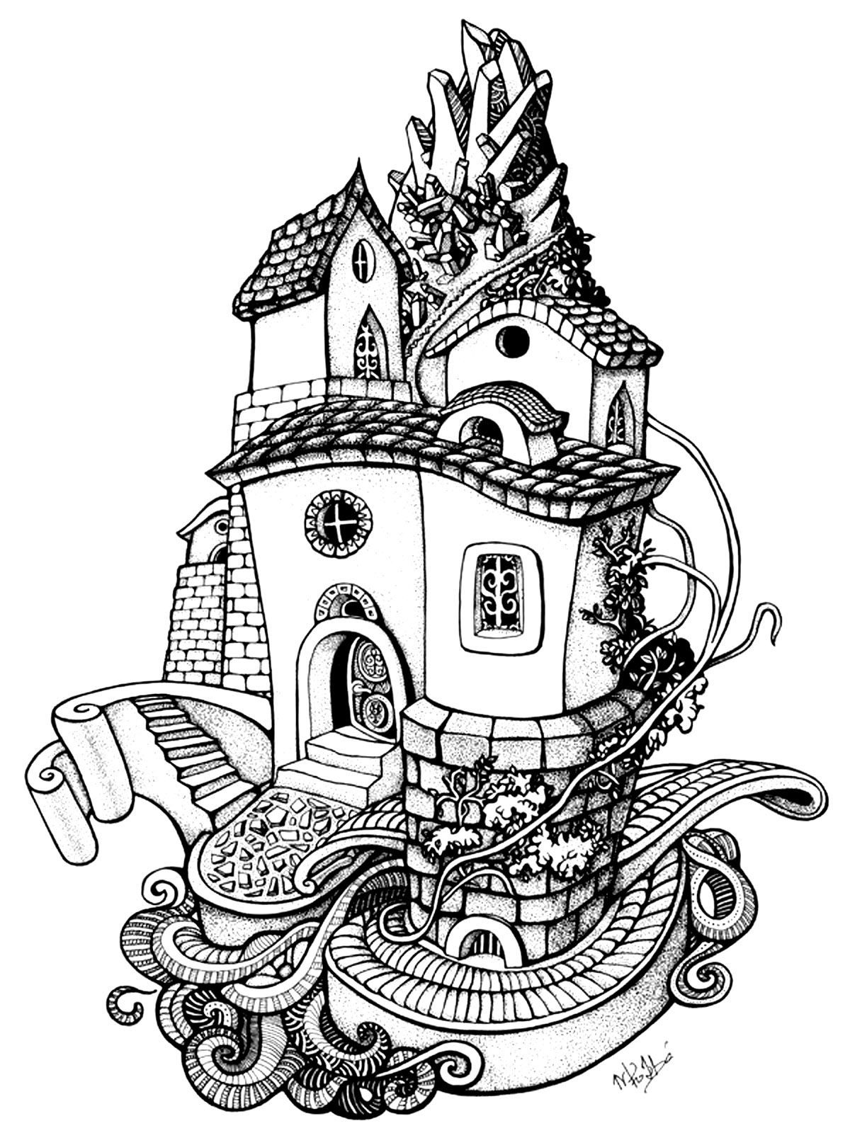 100 free coloring pages for adults and children for Dessin maison gratuit