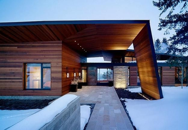Superior Metal, Glass And Wood Homes In Snow, Modern House Designs Design