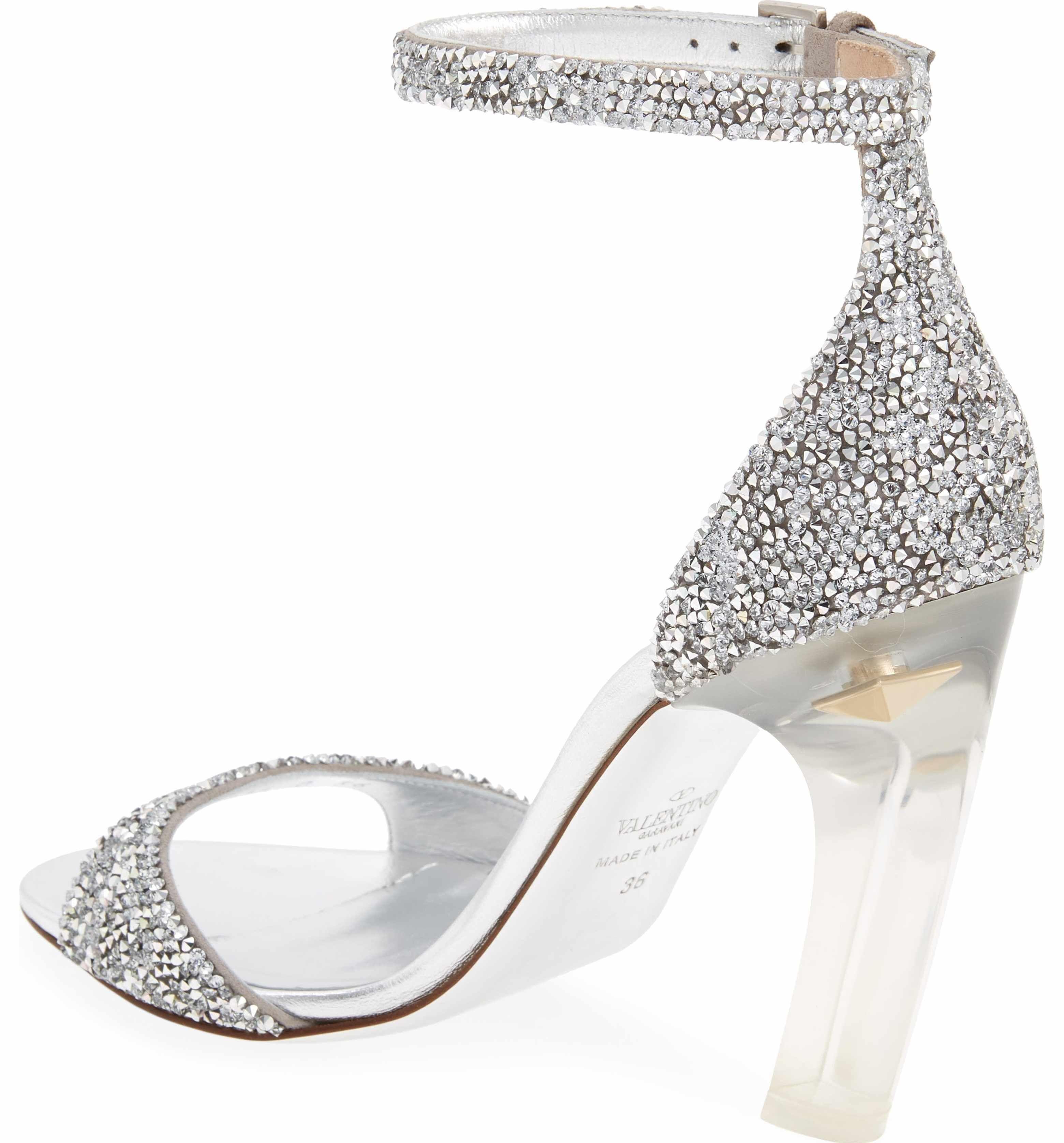 207570c3258 Main Image - VALENTINO GARAVANI Crystal Embellished Clear Heel Sandal  (Women)