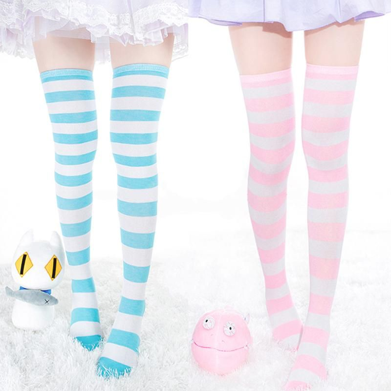 b756515c580 Pastel Thigh High Striped Socks or Stockings! Fairy Kei