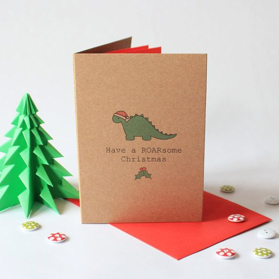 Have a ROARsome Christmas Card Funny Christmas by MissSDesigns