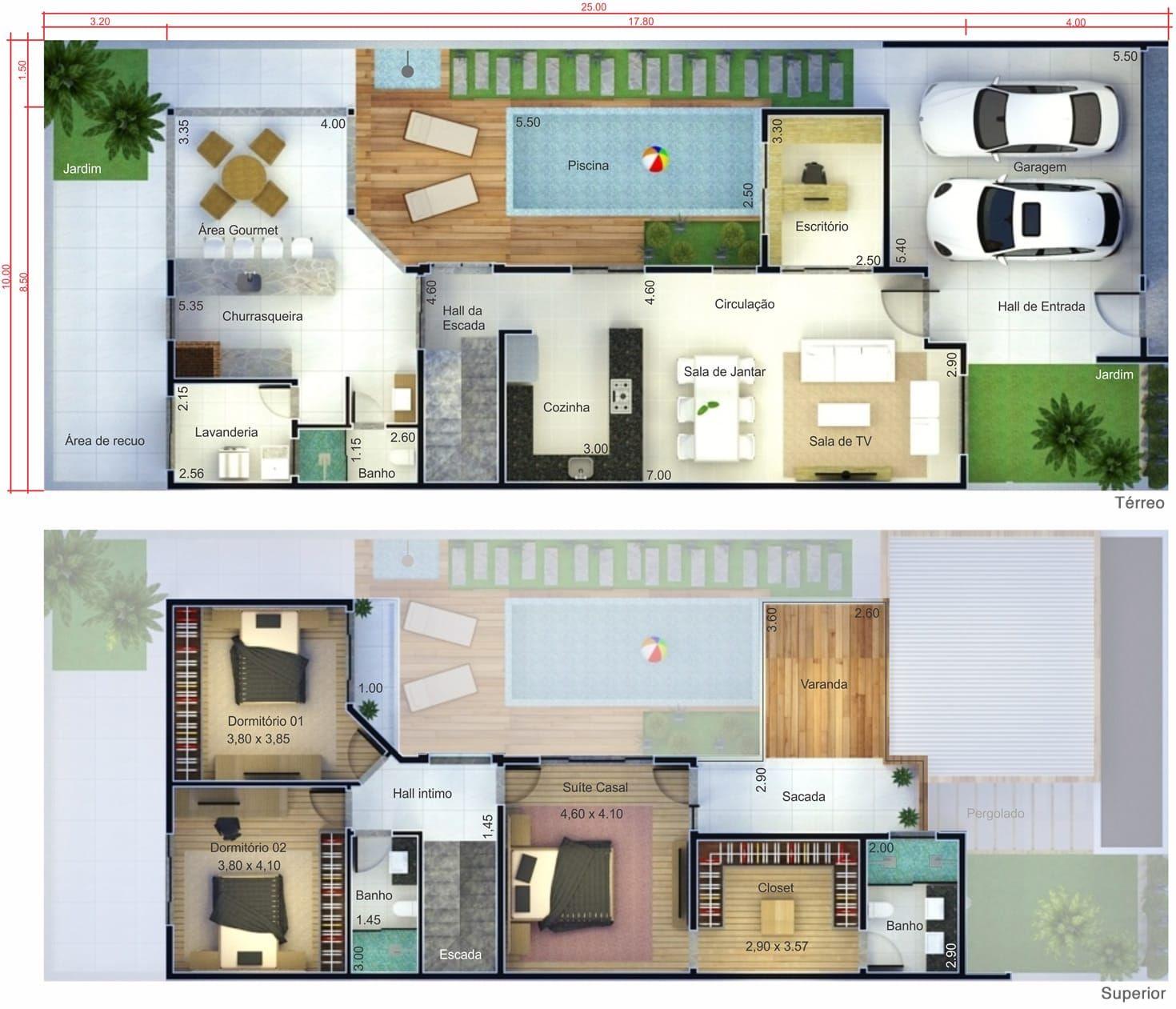 Proyecto de casa con terraza plano para terreno 10x25 - Plantas terraza ...