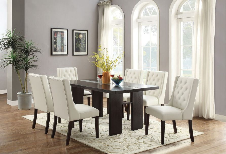 7 Pcs Glass Accent Dark Brown Dining Table Set W White Chairs