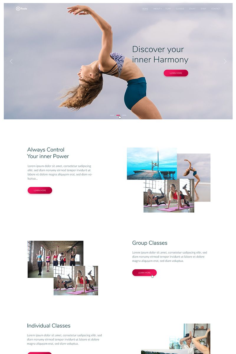 rode sport and yoga website template layout design inspiration