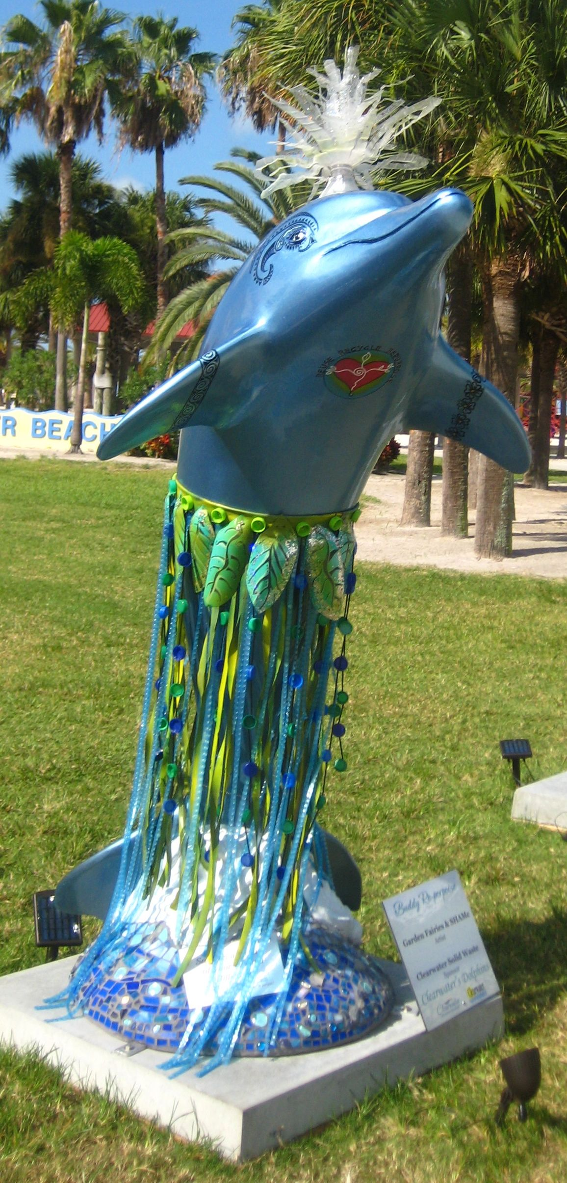 """Clearwater, Florida - Pier 60 Clearwater Dolphin Pod - """"Hillary Hula Dolphin"""" - 100 fiberglass bottlenose dolphin statues, 6 ft tall"""