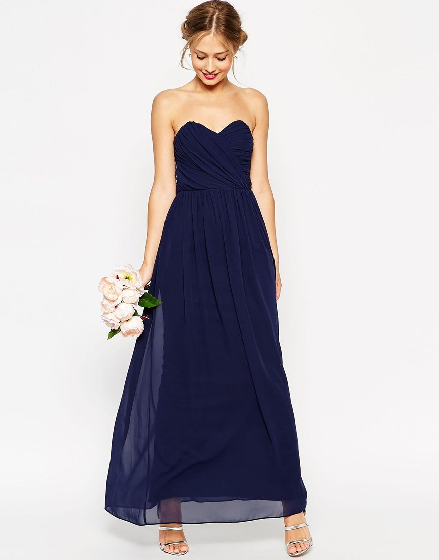 Long navy dress for wedding  WEDDING Bandeau Maxi Dress  Dresses  Pinterest  Maxi dresses