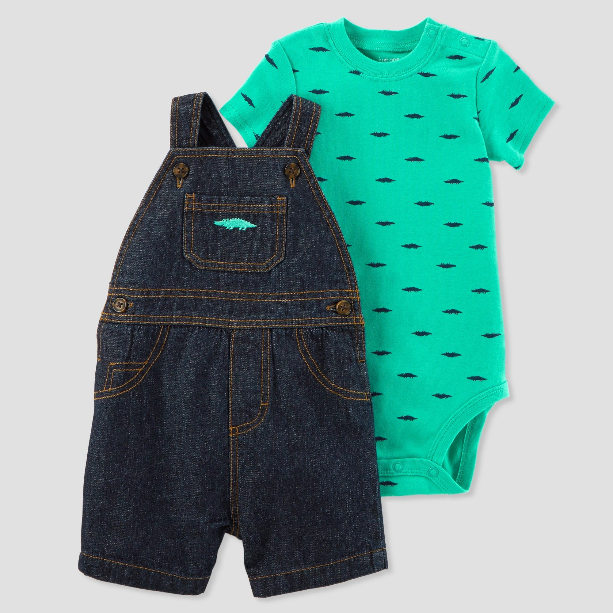 aeb46788d Baby Boys' 2pc Alligator Denim Shortall Set - Just One You made by carter's  Blue/Teal 18M