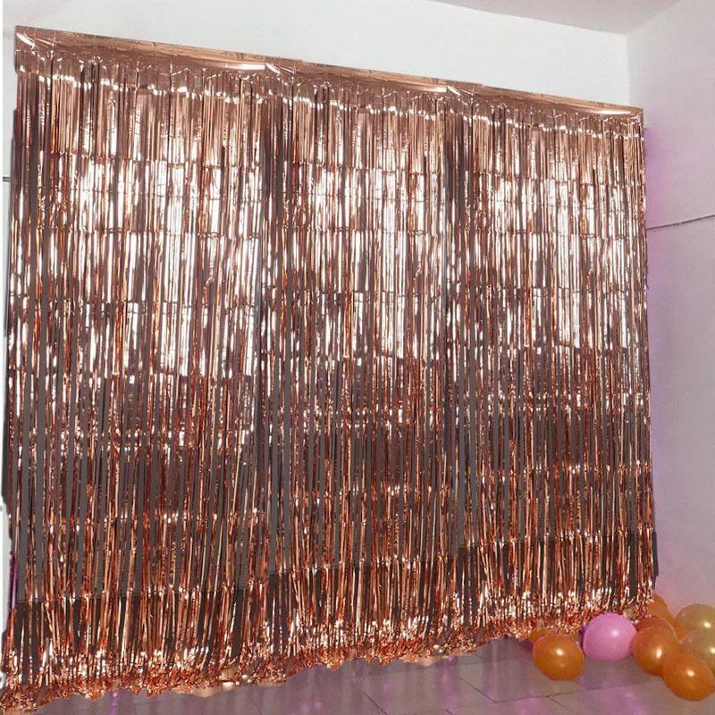 8ft Blush Rose Gold Metallic Foil Fringe Curtain Rose Gold