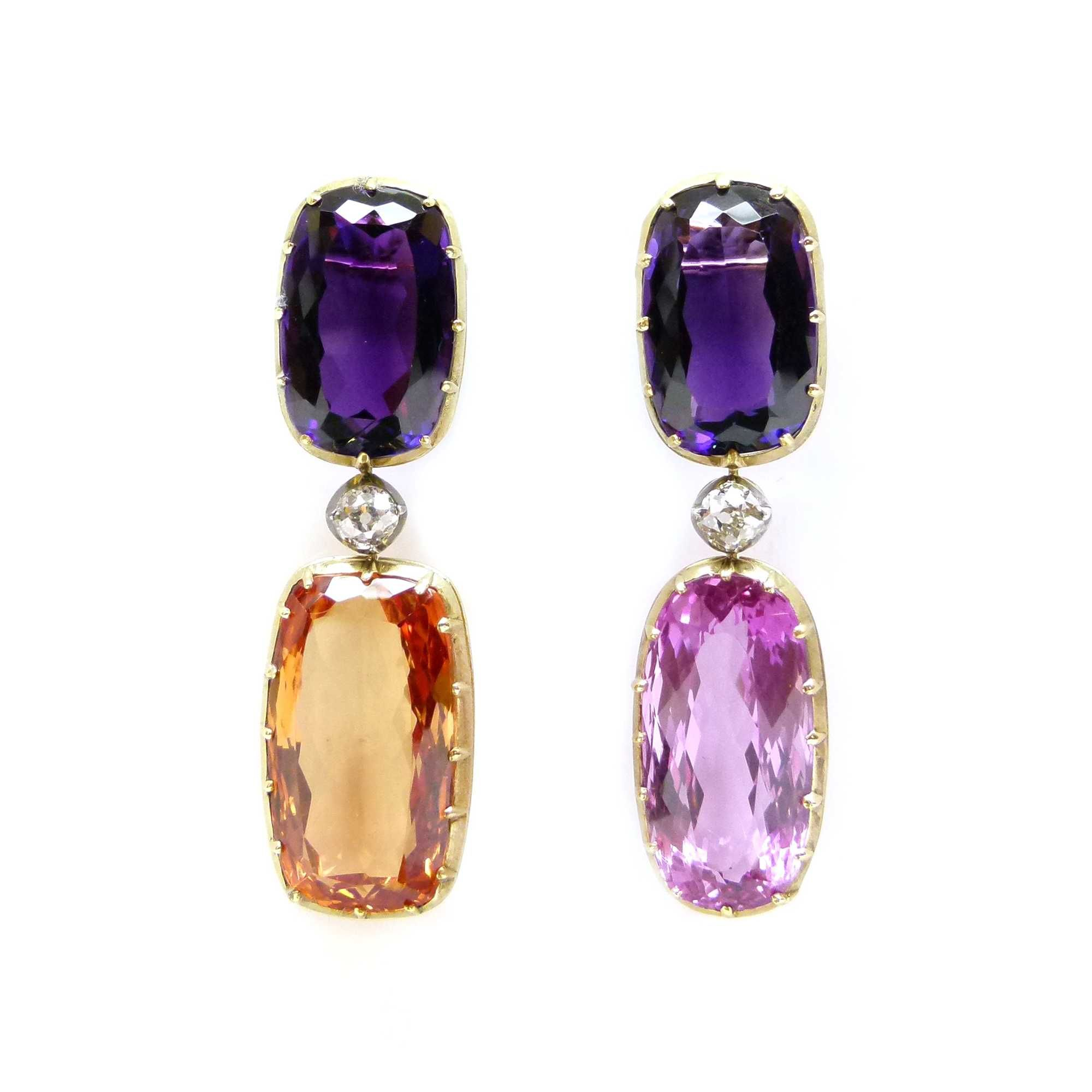 Pair of topaz amethyst and diamond pendant earrings each formed of