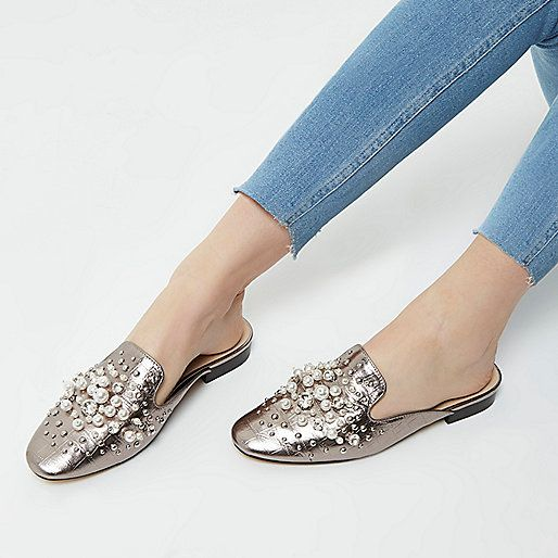 09d00e6d834 Silver rhinestone and pearl backless loafers | FOOTWEAR in 2019 ...