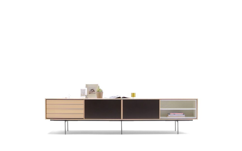 Aura With Frame In Oak And Open Units In White And Aquamarine. It Includes  Sliding
