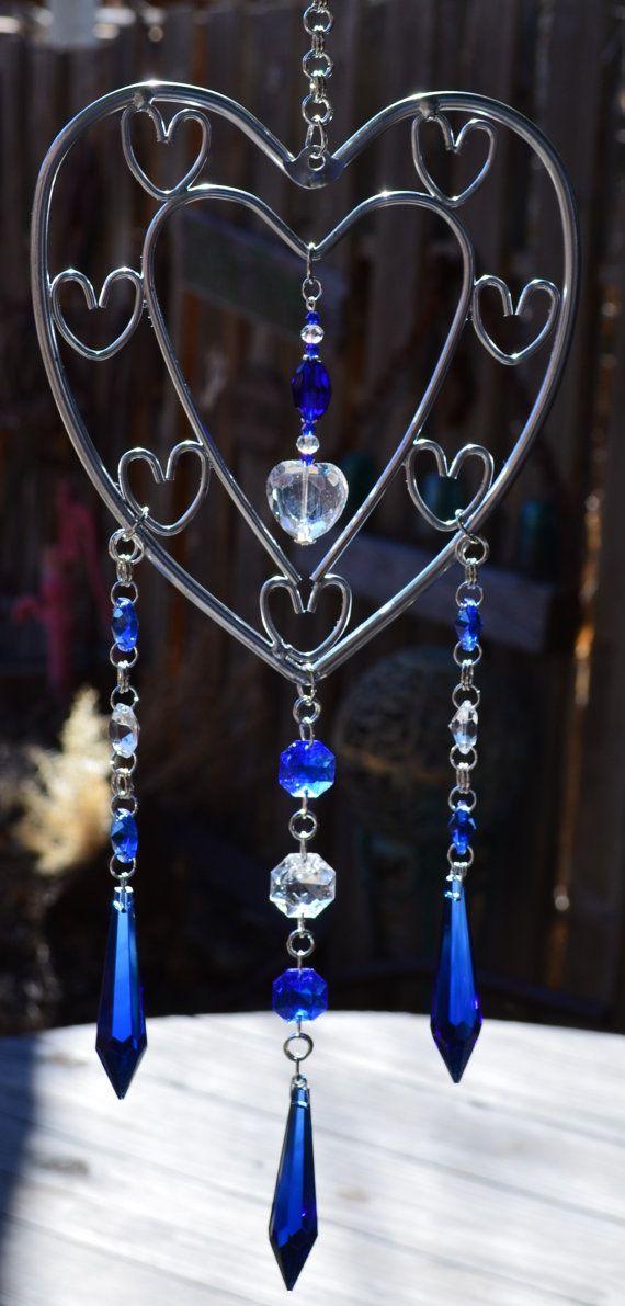 Cobalt Blue Heart Crystal Suncatcher Mobile by AbracadabraBeads