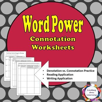 Connotation Vs Denotation Worksheets Close Reading Graphic Organizers Writing Practice Literary Analysis