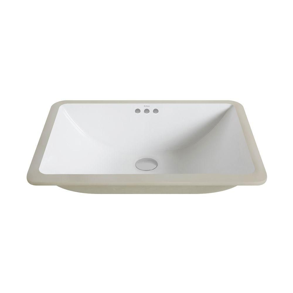 Kraus Elavo Large Rectangular Ceramic Undermount Bathroom Sink In