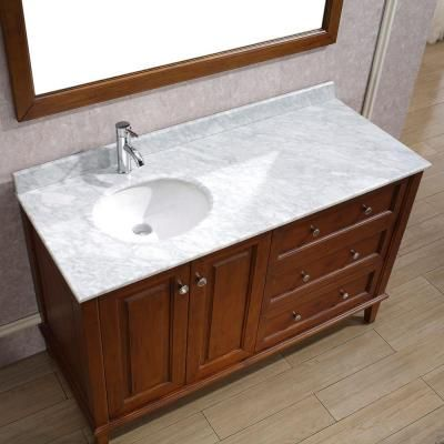 Art Bathe Lily 55 In Vanity In Classic Cherry With Marble Vanity Top In Classic Cherry And Mirror Lily 55 Classic Cherry Carrera The Home Depot 48 Inch Bathroom Vanity Bathroom Vanity