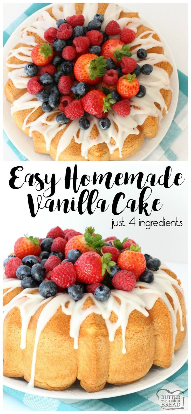 Easy homemade vanilla cake just 4 simple ingredients this easy homemade vanilla cake just 4 simple ingredients this homemade white cake has the best flavor like angel food cake only better forumfinder Images