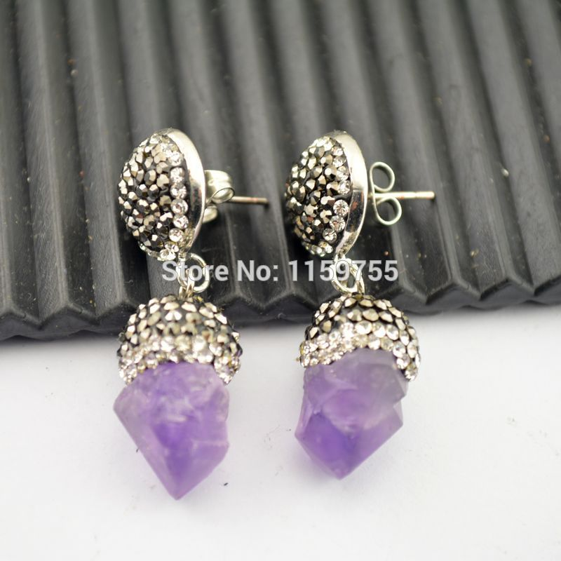 For Women 4Pairs Natural Amethyst Quartz Drop Dangle Earring b5282858ecc0