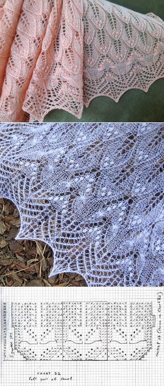 Стирки: волнистые листья и бабочки шаль узором по Афанасии Andritsou