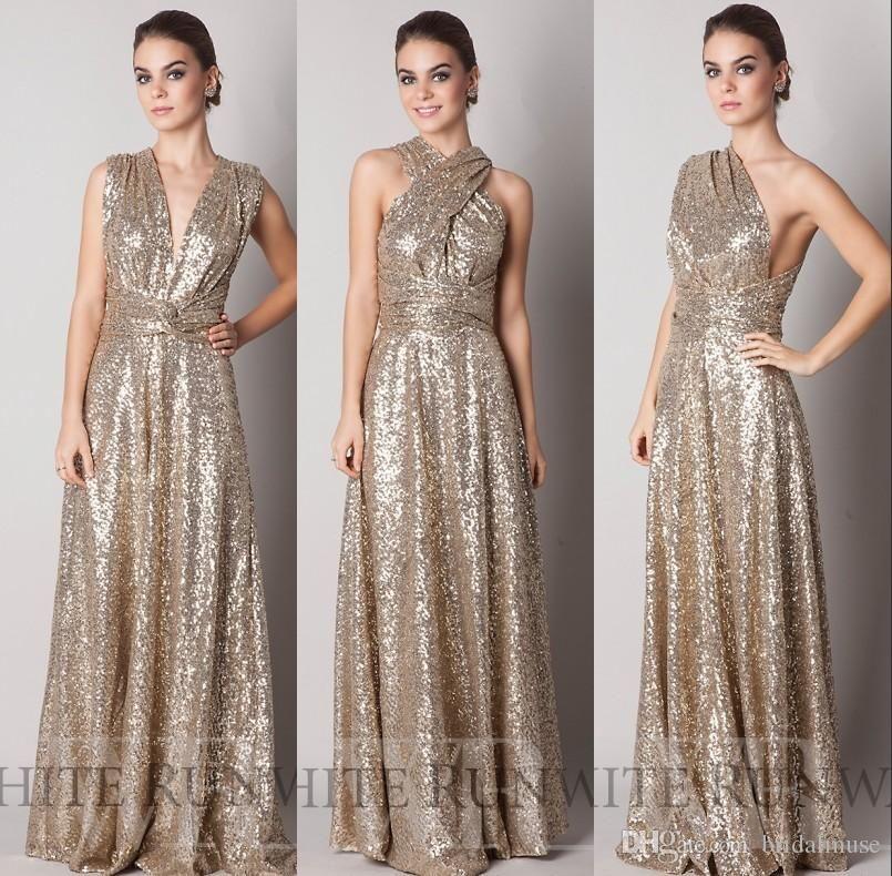 c64a3d2629f Convertible Style Bridesmaid Dresses Gold Sequins Long 2018 ...
