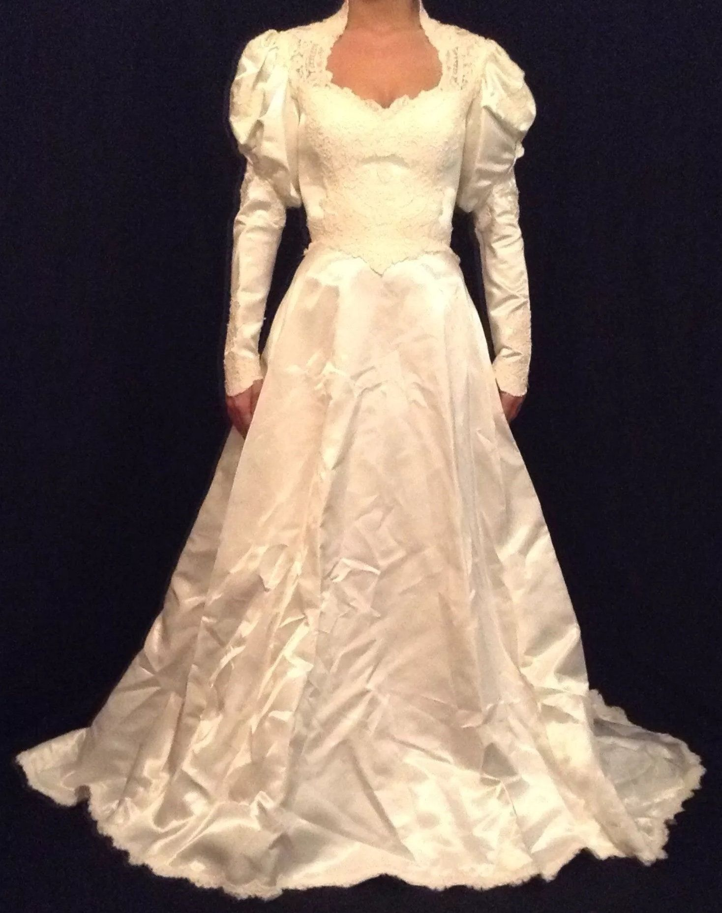 NWT Vintage Priscilla Of Boston Ivory Silk Lace Victorian