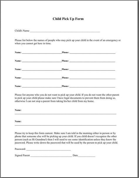 Li\u0027l Angels Home Daycare-Child Pickup Form \u2026 Pinteres\u2026