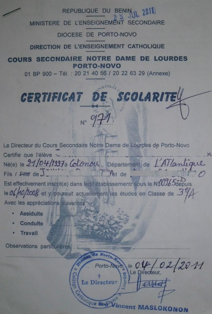 mod u00e8le de lettre certificat de scolarit u00e9 ecole cr u00e8che pour