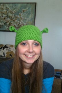 57d1bc7bf2a Crocheted Shrek hat