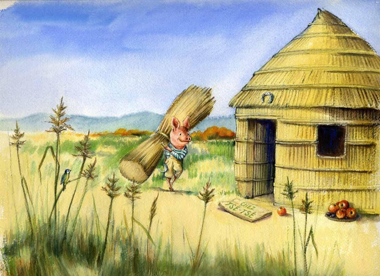 construction de la maison en paille illustration pour le conte les trois petits cochons. Black Bedroom Furniture Sets. Home Design Ideas