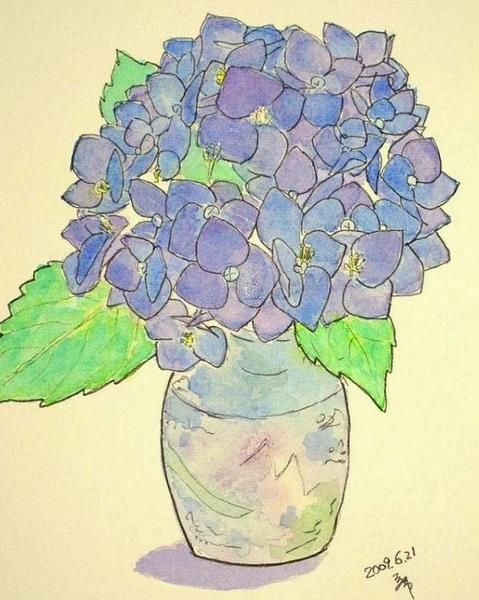 Hydrangea How To Flowers Skeching Outline Painting Watercolor Pen