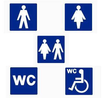 Toilet assorti http://www.veiligwinkel.nl/pictogrammen/aanwijsborden/aanwijsborden-blauw-wit/toilet-divers