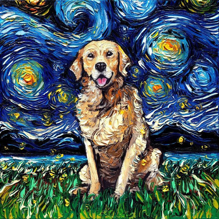 A gift for my dad a painting of his golden retriever