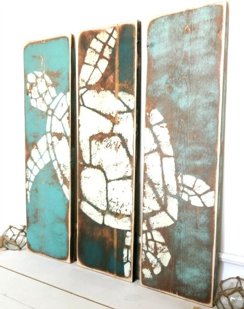 rustic beach themed kitchen decor | Coastal, Ocean & Beach Art Prints on Rustic Wood | Coastal ...