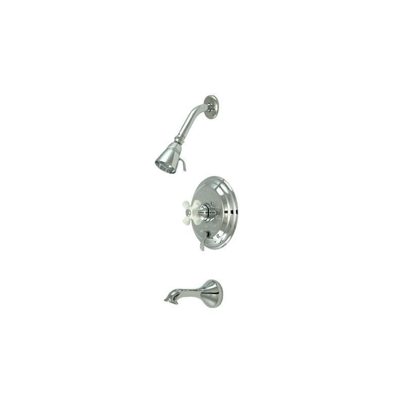 Kingston Brass KB363.0PX Restoration Tub and Shower Trim with Single Function Sh Polished Chrome Faucet Tub and Shower Single Handle