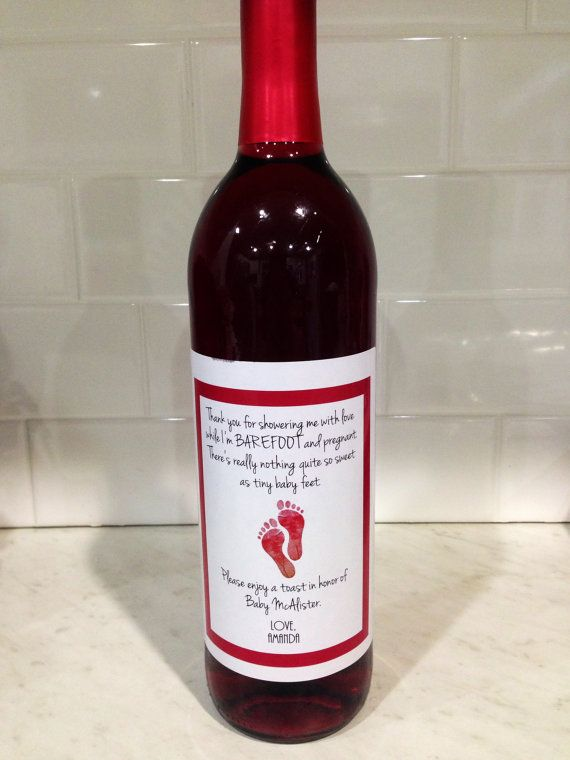 baby shower hostess gift barefoot wine with a cute little saying, Baby shower
