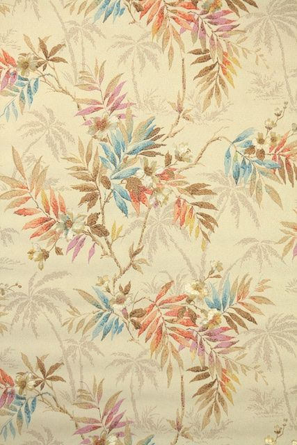 1920s Vintage Wallpaper by the Yard - Antique Floral Botanical Wallpaper with…