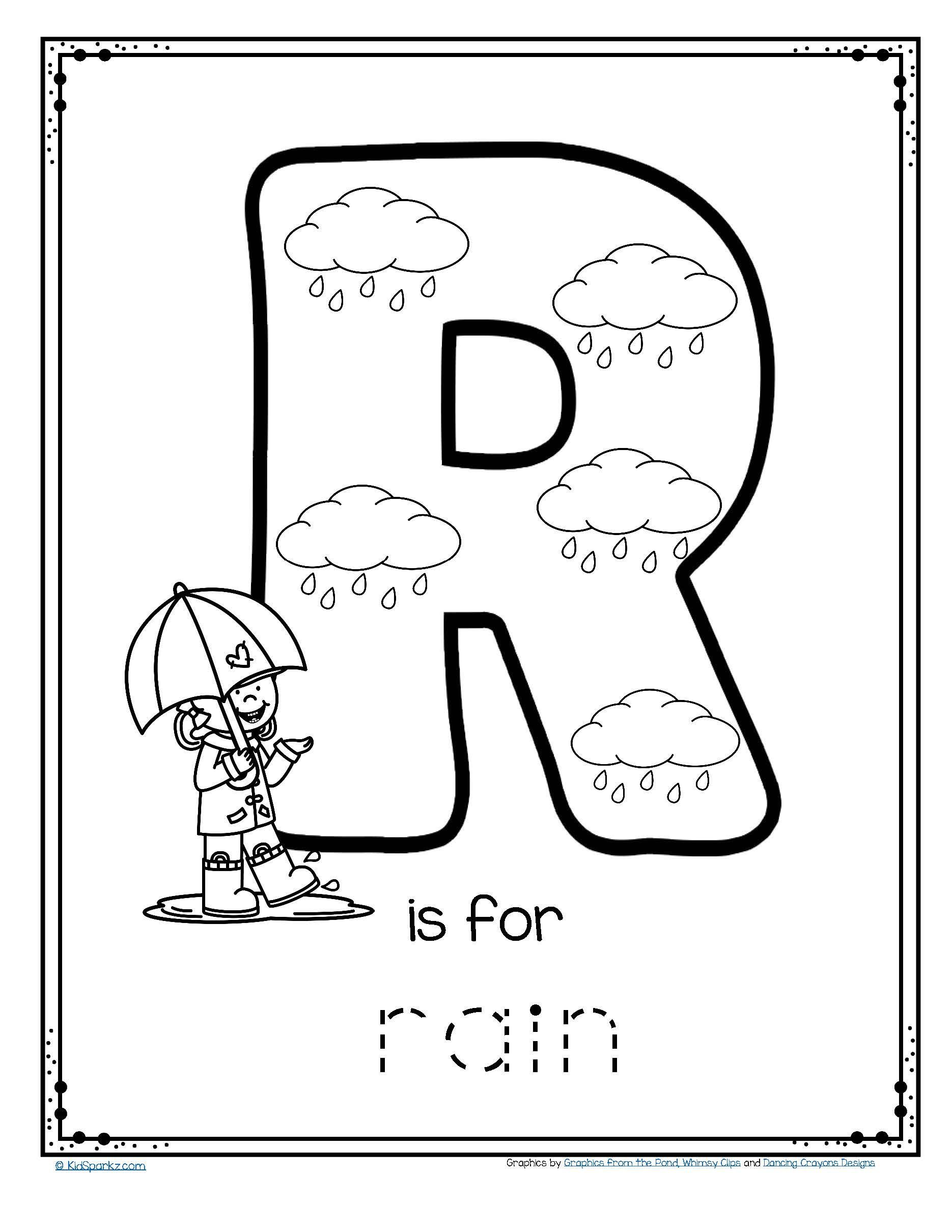 Free R Is For Rain Alphabet Trace And Color Printable