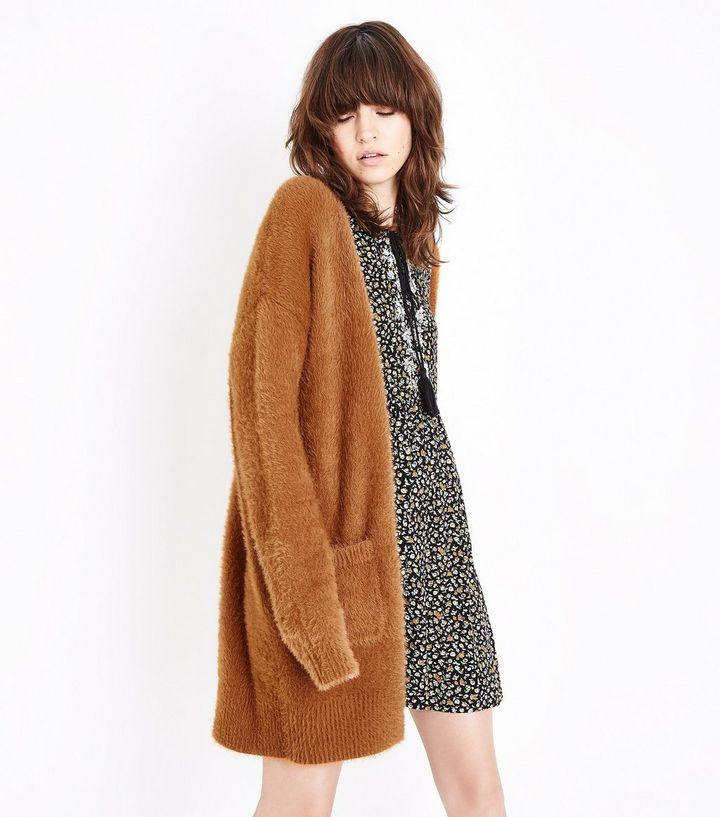Light Brown Fluffy Longline Cardigan | Longline cardigan, Light ...