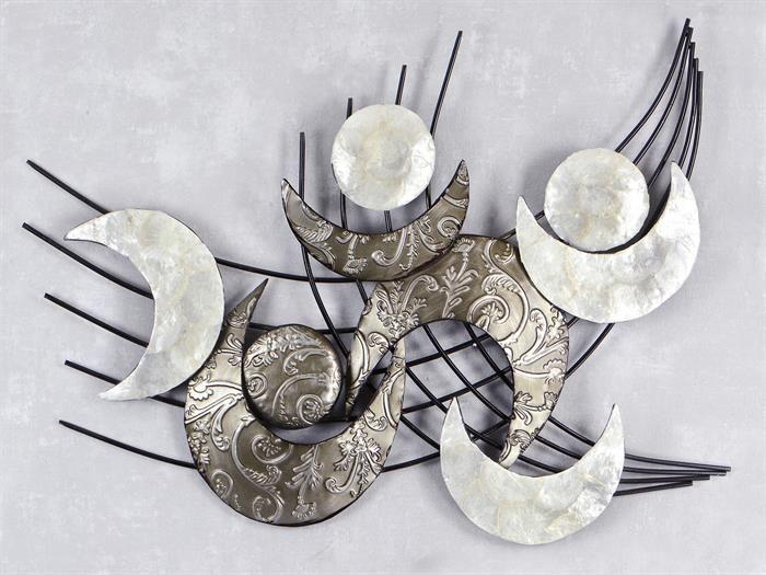 wand deko retro muschel aus metall breite 91cm hohe 75cm schwarz mit silber oder gold resim duvari duvar bastelideen wanddekoration wanddeko online kaufen