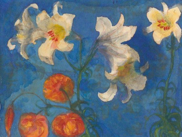 Emil Nolde: Weiße Lilien, rote Blüten vor blauem Grund