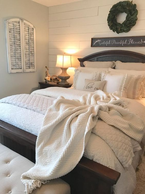 Master bedroom, shiplap, i love us pillow, signs, wreath, lighting, farmhouse, rustic, modern, country, home decor, diy decor, etsy, together is my favorite place to be sign, bed frame, upholstered headboard, white sheets, white comforter, white blanket, ship lap, tray, bless this house, pillows, shiplap, pillows, stripes and design, night stand, love, bedroom, master bedroom #afflink