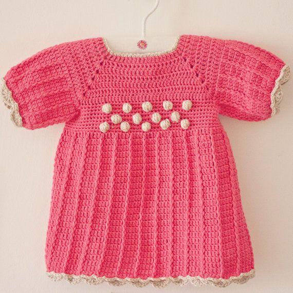 Crochet PATTERN pdf file Popcorn Dress sizes up von monpetitviolon ...
